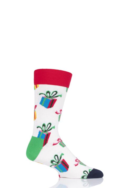 Mens and Ladies 1 Pair Happy Socks Christmas Presents Combed Cotton Socks Product Image