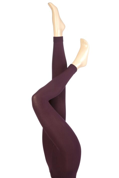 Ladies 1 Pair Heat Holders 0.52 Tog Leggings In Purple Product Image
