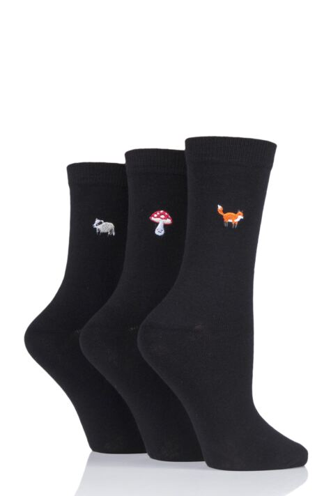 Ladies 3 Pair SOCKSHOP Wild Feet Embroidered Countryside Cotton Socks Product Image