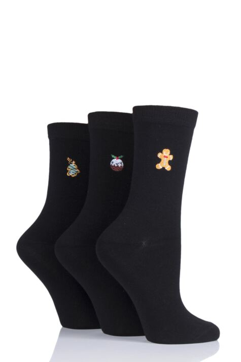 Ladies 3 Pair SOCKSHOP Wild Feet Embroidered Christmas Treats Cotton Socks Product Image