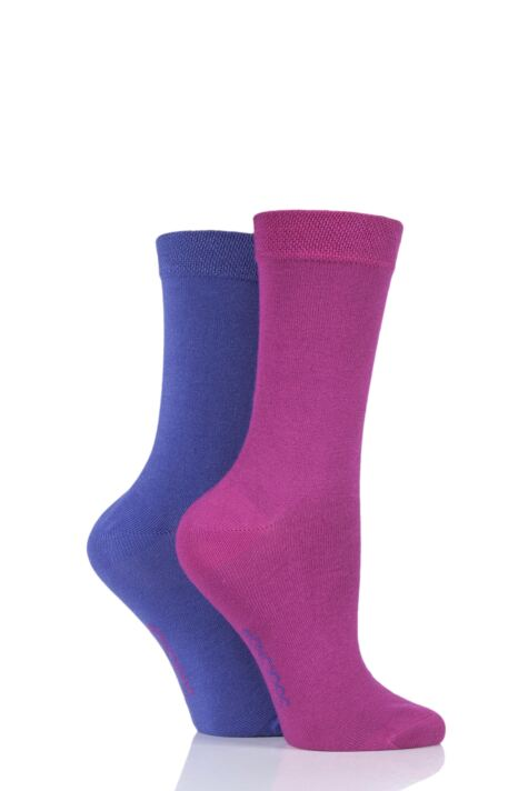 Ladies 2 Pair SockShop Plain Bamboo Socks with Smooth Toe Seams Product Image