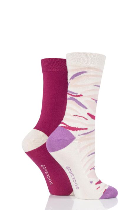 Ladies 2 Pair SOCKSHOP Patterned Bamboo Socks with Smooth Toe Seams Product Image