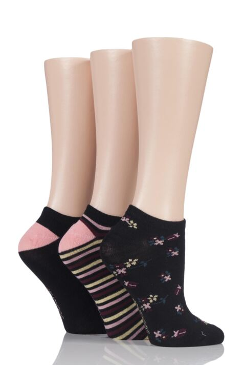 Ladies 3 Pair SockShop Insect Patterned Bamboo Trainer Socks Product Image