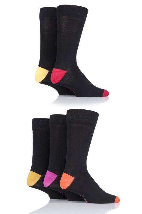 Mens 5 Pair SockShop Contrast Heel and Toe Bamboo Socks Product Image