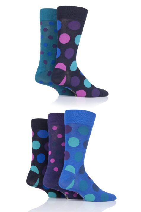 Mens 5 Pair SOCKSHOP Polka Dot Bamboo Socks Product Image