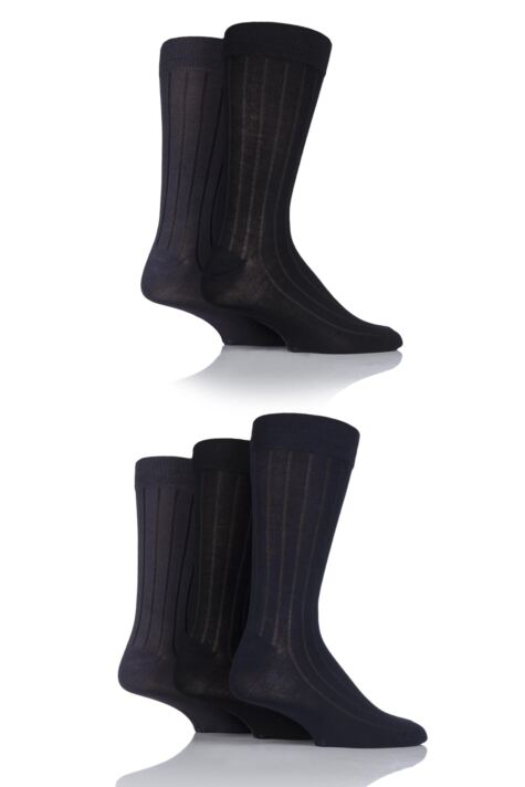 Mens 5 Pair SockShop Bamboo Ribbed Socks Product Image