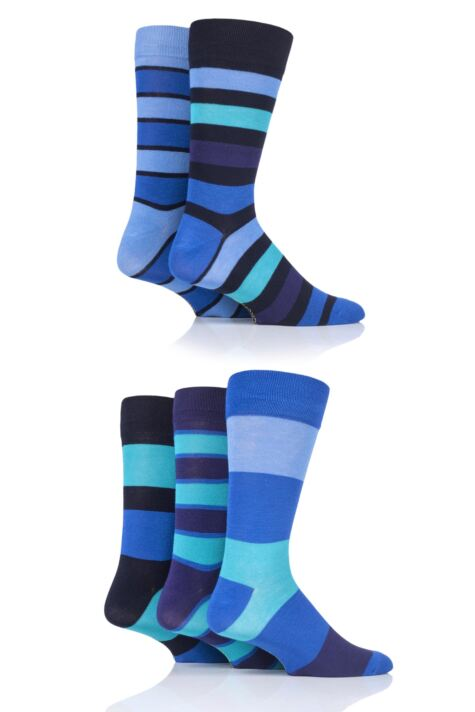 Mens 5 Pair SockShop Striped Bamboo Socks Product Image