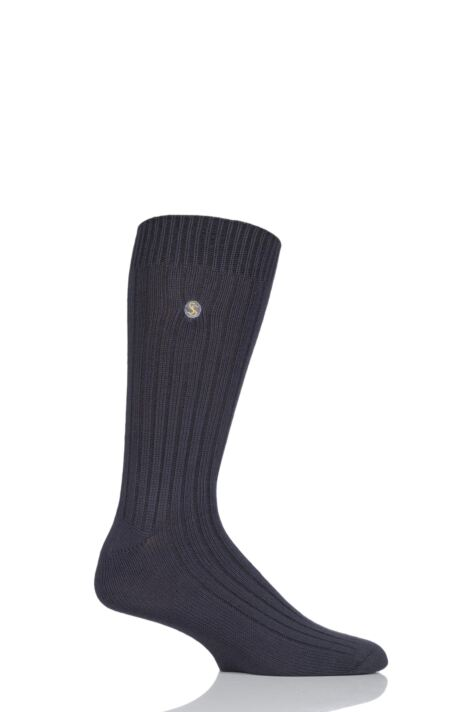 Mens 1 Pair SockShop Colour Burst Bamboo Ribbed Socks Product Image