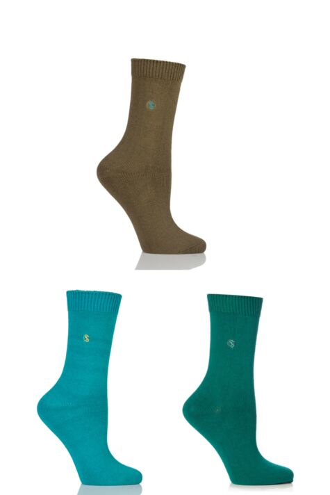 Ladies 3 Pair SockShop Colour Burst Cotton Socks with Smooth Toe Seams Product Image