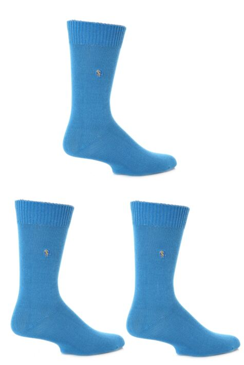 Mens 3 Pair SockShop Colour Burst Cotton Socks with Smooth Toe Seams Product Image