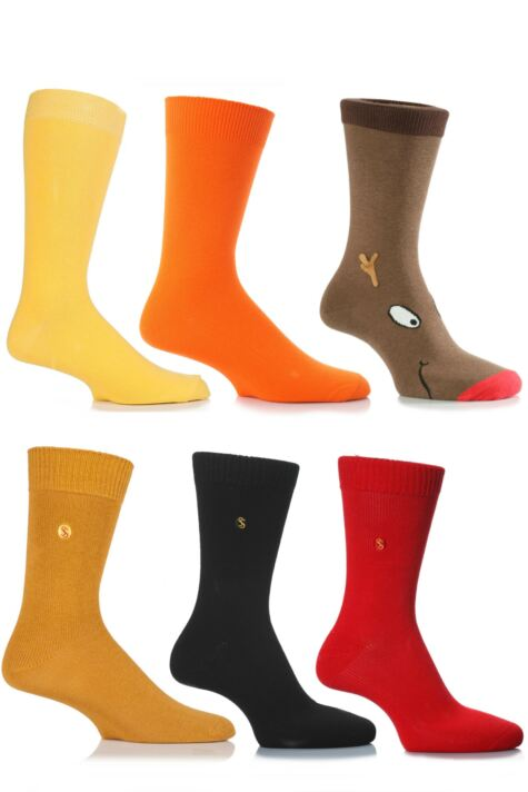 Mens 6 Pair SockShop Christmas Gift Socks Selection Product Image