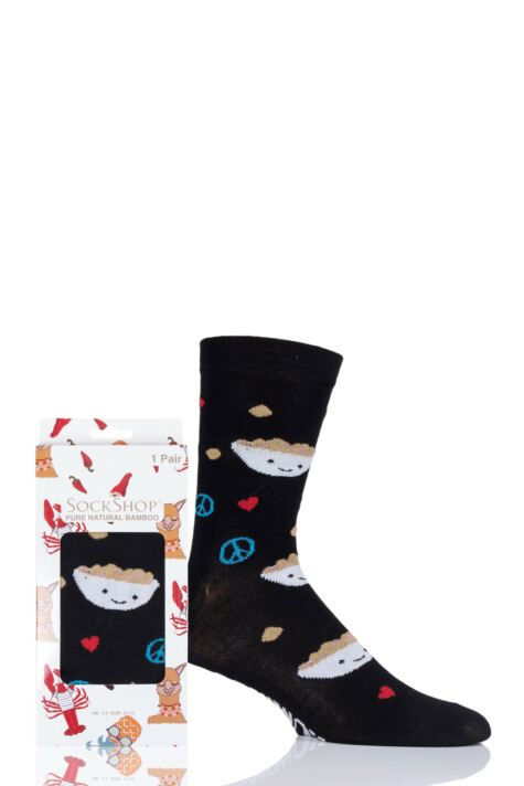 Mens and Ladies SockShop 1 Pair Lazy Panda Bamboo Spread Hummus Not Hate Gift Boxed Socks Product Image
