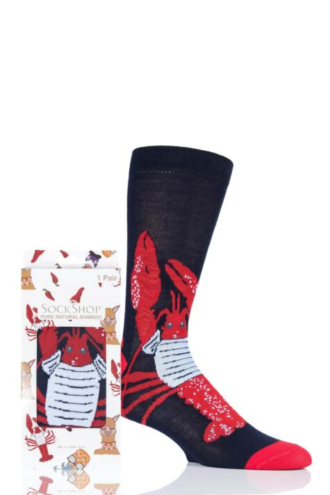 Mens and Ladies SOCKSHOP 1 Pair Lazy Panda Bamboo Lobster Gift Boxed Socks Product Image