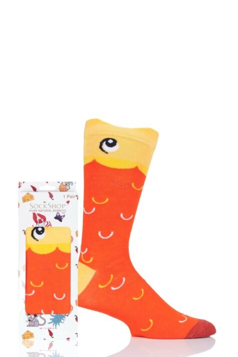 Mens and Ladies SockShop 1 Pair Lazy Panda Bamboo Goldfish Gift Boxed Socks Product Image