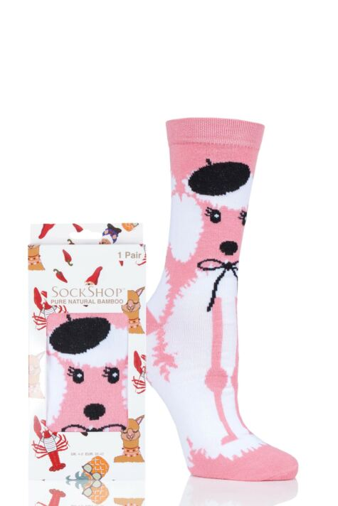 Ladies SOCKSHOP 1 Pair Lazy Panda Bamboo French Poodle Gift Boxed Socks Product Image