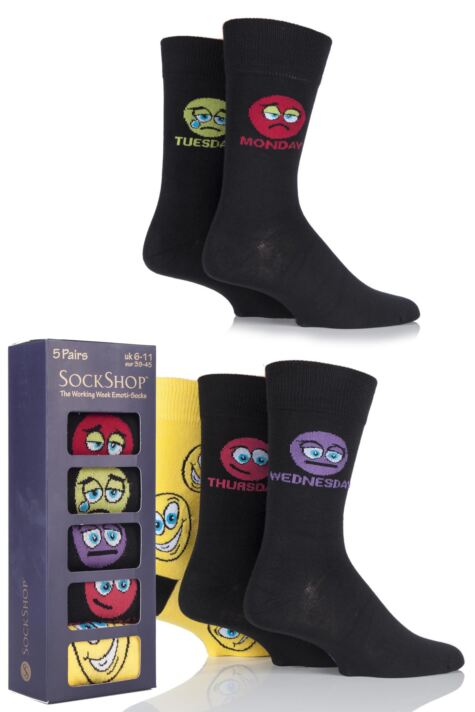 Mens 5 Pair SockShop Gift Boxed Working Week Emoti-Socks Product Image