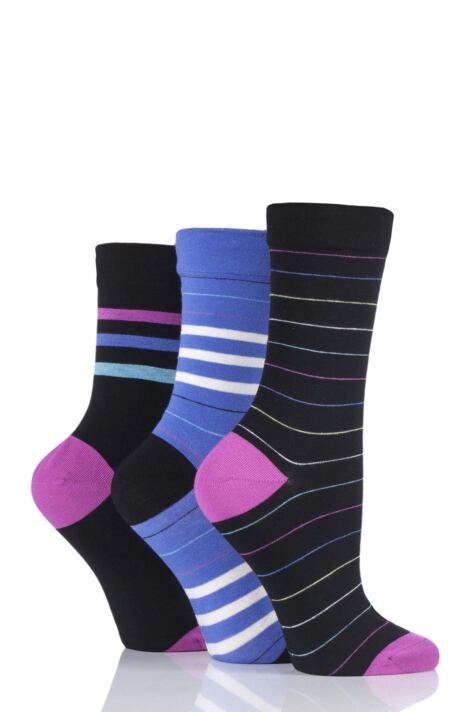 Ladies 3 Pair SockShop Gentle Bamboo Socks with Smooth Toe Seams in Plains and Stripes Product Image