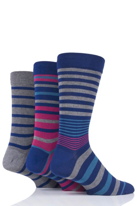 Mens 3 Pair SOCKSHOP Comfort Cuff Gentle Bamboo Striped and Plain Socks with Smooth Toe Seams Product Image
