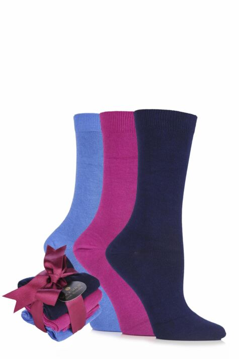 Ladies 3 Pair SOCKSHOP Cotton Socks Bundle with Gift Wrapped Bow Product Image