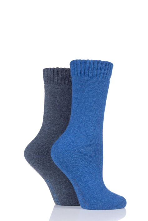 Ladies 2 Pair SockShop Wool Mix Plain Boot Socks Product Image
