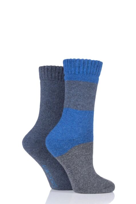 Ladies 2 Pair SockShop Wool Mix Striped and Plain Boot Socks Product Image