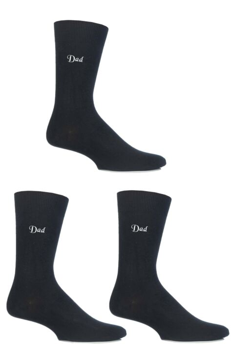 Mens 3 Pair SOCKSHOP Embroidered Dad and Grandad Cotton Socks Product Image