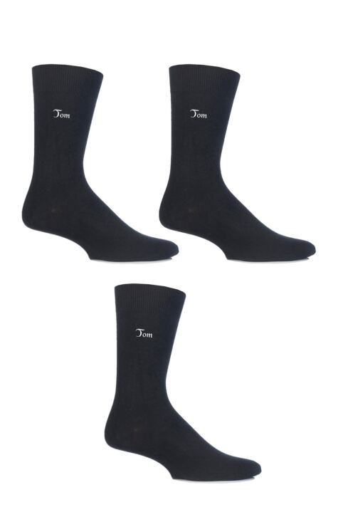 Mens 3 Pair SockShop Embroidered Name Cotton Socks Product Image