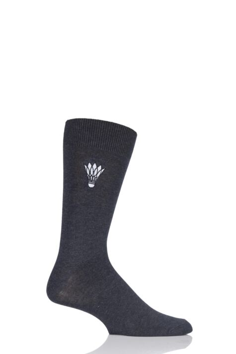 Mens 1 Pair SockShop Embroidered Sports Motif Cotton Modal Socks Product Image