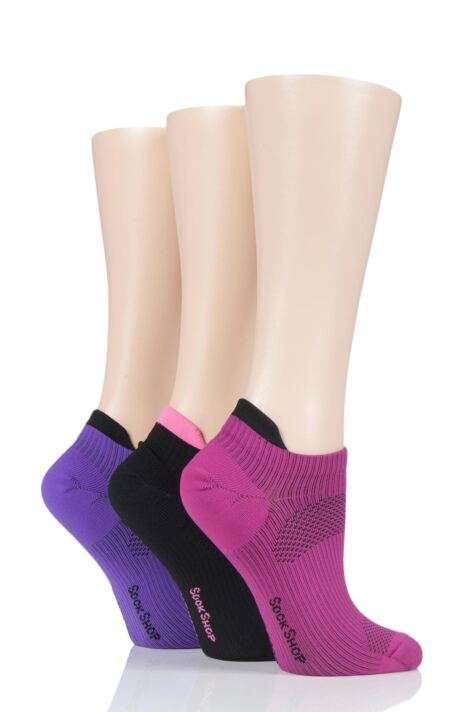 Ladies 3 Pair SOCKSHOP Poly Sports No Show Socks Product Image