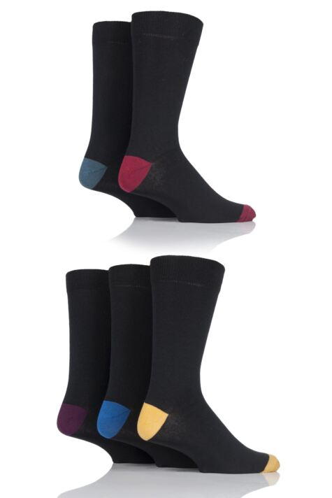 Mens 5 Pair SockShop Contrast Heel and Toe Cotton Socks Product Image