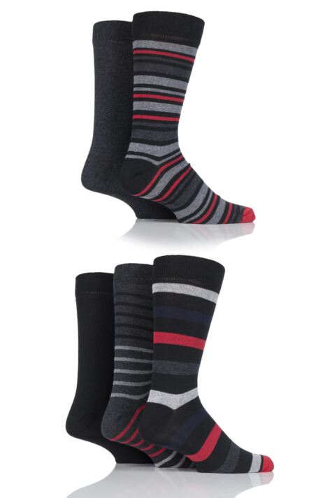 Mens 5 Pair SockShop Striped Cotton Socks Product Image