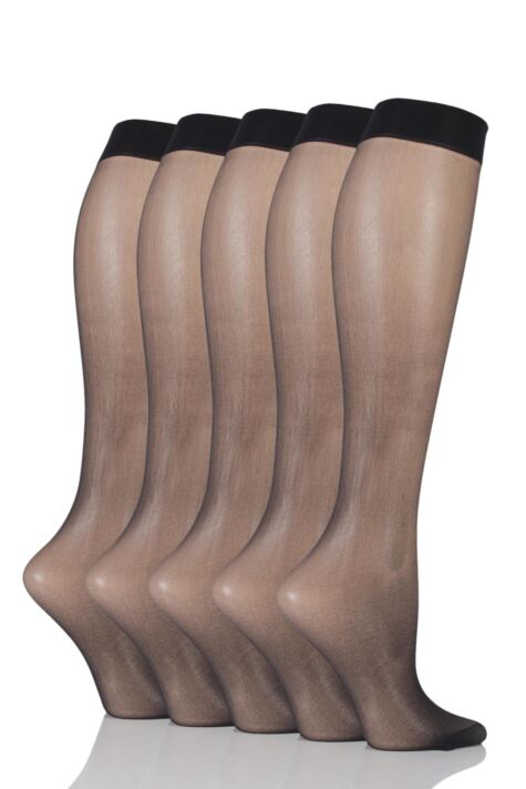 Ladies 5 Pair SOCKSHOP 15 Denier Knee Highs Product Image