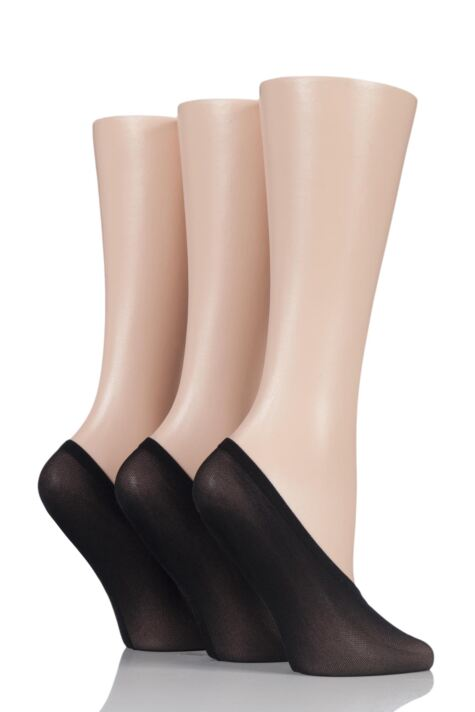 Ladies 3 Pair SOCKSHOP Soft Sheen Shoe Liner Socks Product Image