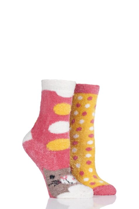 Ladies 2 Pair SockShop Wild Feet Cat Fluffy Cosy Socks Product Image