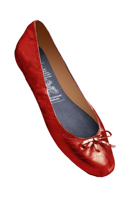 Ladies 1 Pair Rollasole Red Rollable After Party Shoes to Keep in Your Handbag Product Image