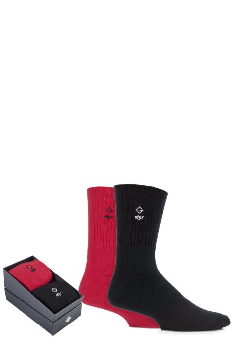 Mens 2 Pair Glenmuir Comfort Cuff Cushioned Golf Socks Gift Box Product Image