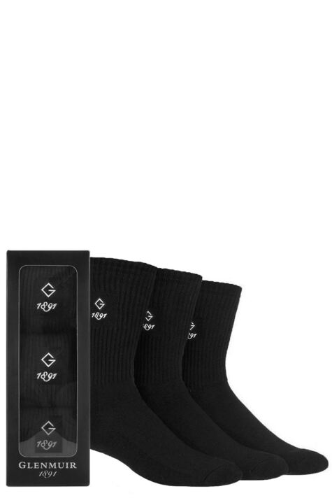 Mens 3 Pair Glenmuir Gift Boxed Plain Cotton Socks Product Image
