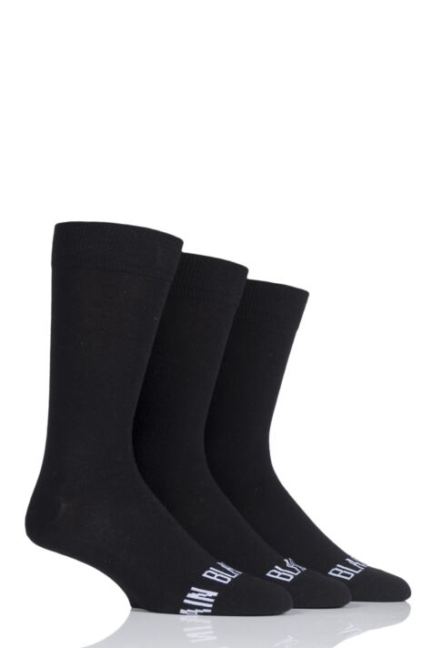 Mens 3 Pair SockShop Wild Feet 'Plain Black Socks' Crew Socks Product Image
