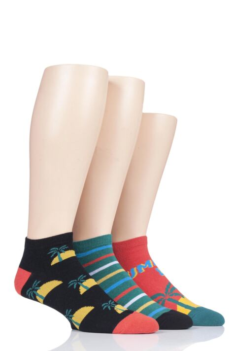 Mens 3 Pair SockShop Wild Feet Novelty Cotton Trainer Socks Product Image