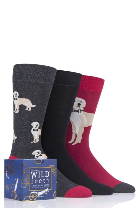 Mens 3 Pair SOCKSHOP Wild Feet Gift Boxed Novelty Cotton Socks Product Image