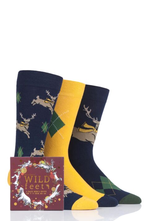 Mens 3 Pair SockShop Wild Feet Gift Boxed Stag Cotton Socks Product Image