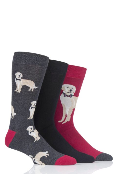 Mens 3 Pair SockShop Wild Feet Golden Retriever Novelty Cotton Socks Product Image