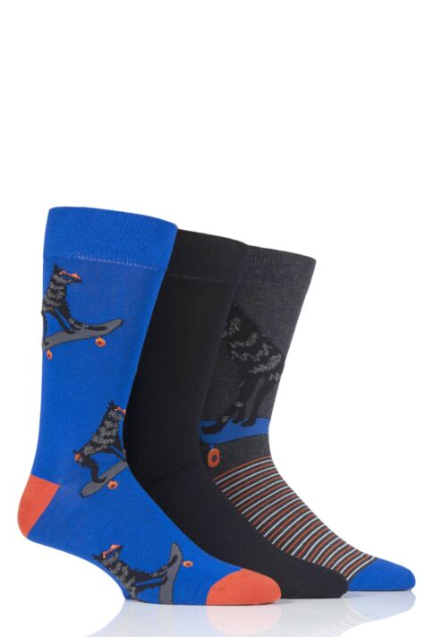Mens 3 Pair SOCKSHOP Wild Feet Baboon Novelty Cotton Socks Product Image