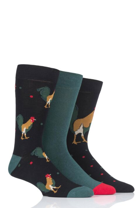 Mens 3 Pair SockShop Wild Feet Rooster Novelty Cotton Socks Product Image