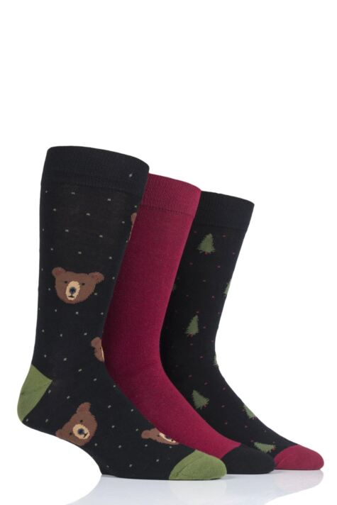 Mens 3 Pair SockShop Wild Feet Grizzly Bear Cotton Socks Product Image