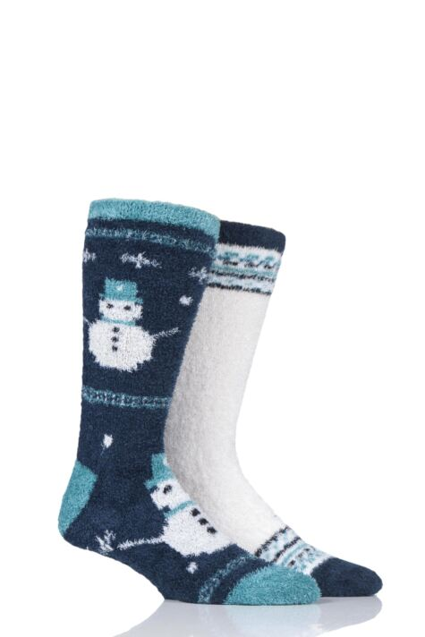 Mens 2 Pair SockShop Wild Feet Winter Themed Fluffy Bed Socks Product Image