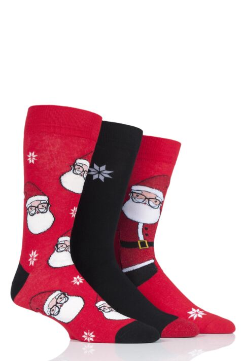 Mens 3 Pair SockShop Wild Feet Santa Glasses Cotton Socks Product Image