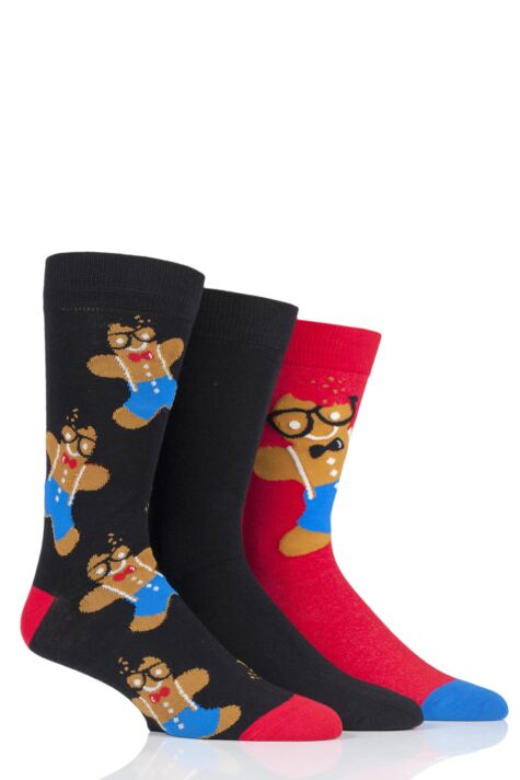 Mens 3 Pair SOCKSHOP Wild Feet Gingerbread Man Christmas Novelty Cotton Socks Product Image