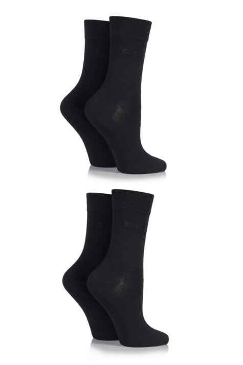 Ladies 4 Pair Elle Plain Bamboo Fibre Socks Product Image