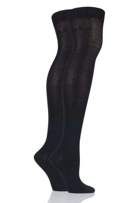 Ladies 2 Pair Elle Plain Bamboo Over The Knee Socks Product Image